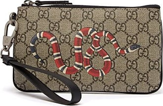 Gucci Snake-print Gg Supreme Pouch - Mens - Beige