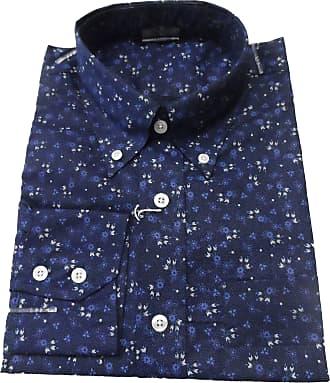 Relco Retro Mens Navy Floral Button Down Shirts (Medium, Navy)