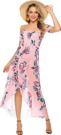 Abollria Womens Off Shoulder Short Sleeve Floral Print Split Beach Long Maxi Dress Pink