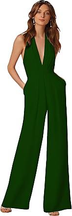 YiJee Womens Deep V-Neck Jumpsuit Club Cocktail Romper Sleveless Playsuit Dark Green