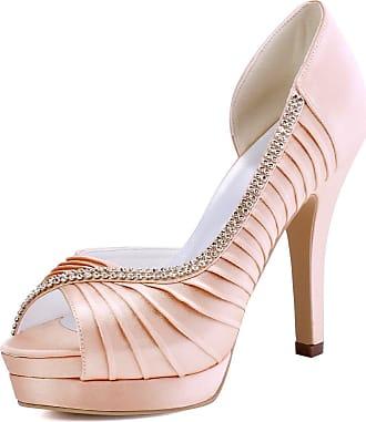 Elegantpark EP11064-IPF Women Satin Pleated Platforms DOrsay Pumps Evening Party Shoes Pink UK 5