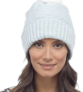 Foxbury Ladies Fluffy Beanie Bobble Hat with Faux Fur Pom Pom One Size Blue