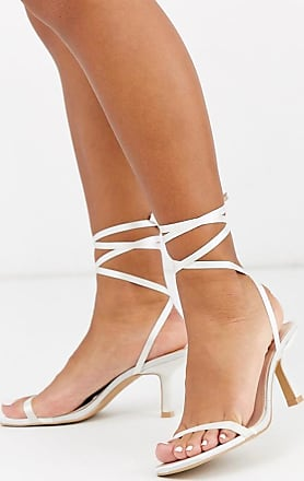 Be Mine Bridal Levinia ankle tie heeled sandals in ivory satin-White