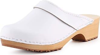 Ladeheid Women´s Wood Shoes Clogs House Shoes LAFA037 (White-2, 40 EU = 6.5 UK)