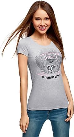 oodji Womens Printed Cotton T-Shirt, Grey, UK 6 / EU 36 / XS