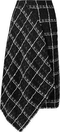 Roland Mouret Keaton Draped Cotton-blend Tweed Midi Skirt - Black