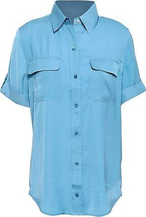 Equipment Equipment Woman Slim Signature Crepe De Chine Shirt Light Blue Size L