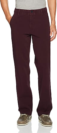 Dockers Mens Straight Fit Downtime Khaki Smart 360 Flex Pants D2 Casual Trousers, Bay Berry, 33 W/30 L