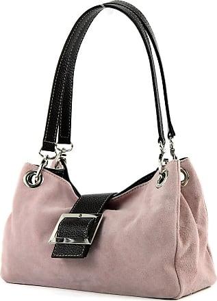 modamoda.de ital. Ladies Handbag Tote Satchel leather bag Suede Small TL02, Colour:pink Beige