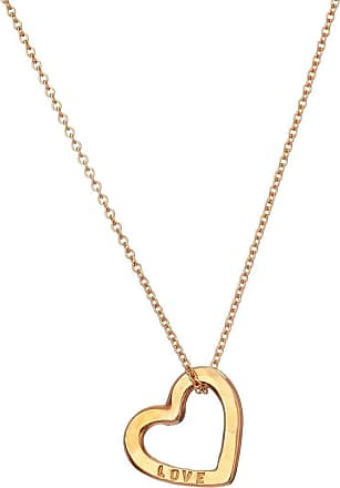 Posh Totty Designs Yellow Gold Plated Personalised Love Heart Necklace - Extra Fine - 16 Inches