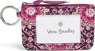 Vera Bradley Womens Iconic Zip ID Case, Signature Cotton Wallet, Raspberry Medallion, One size