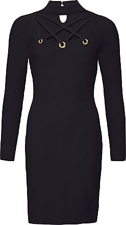 BODYFLIRT boutique Dam Stickad klänning med cut-outs i svart lång ärm - BODYFLIRT  boutique 98389f39339b5