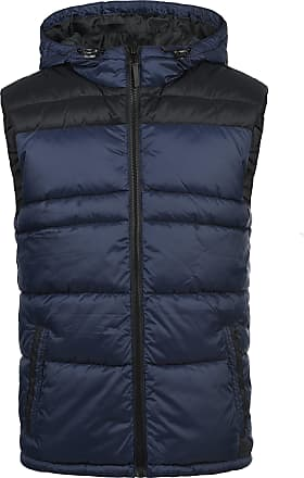 Blend Nil Mens Quilted Gilet Vest Body Warmer with Hood, Size:M, Colour:Navy (70230)