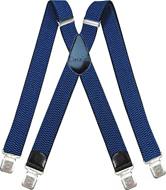 Decalen Mens braces wide adjustable and elastic suspenders X shape with a very strong clips Heavy duty, Light Blue, L