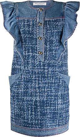 Philosophy di Lorenzo Serafini sleeveless ruffled denim dress - Blue