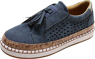 Daytwork Women Round Toe Sneakers Loafer Flats Shoes - Ladies Slip On Trainers Casual Comfort Faux Leather Bass Boat Suede Low Top Moccasins Blue