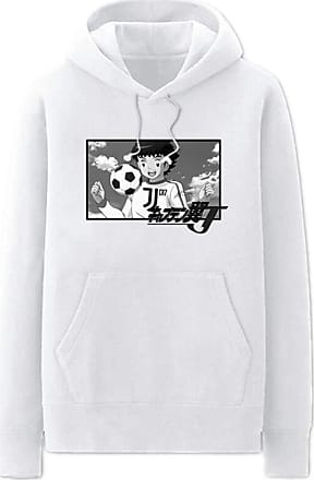 Haililais Captain Tsubasa Pullover Hoodie Popular Sweatshirt Simple Leisure Printed Pullover Long Sleeve Tops with Pocket Unisex (Color : White01, Size : Height