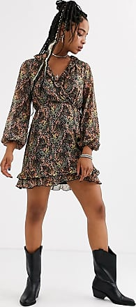 Topshop mini dress with ruffle detail in floral print-Multi