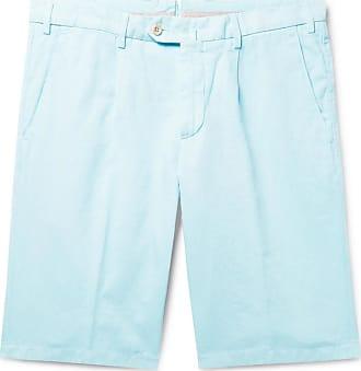 Loro Piana Slim-fit Pleated Cotton And Linen-blend Bermuda Shorts - Light blue