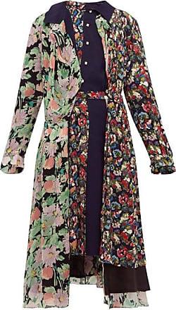 Junya Watanabe Belted Floral-print Crepe Midi Dress - Womens - Navy Multi