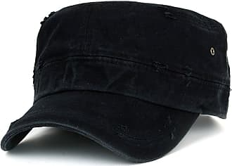 Ililily Distressed Cotton Cadet Cap with Adjustable Strap Army Style Hat (cadet-527-1) Black