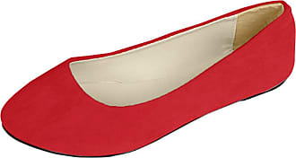 Vdual Women Ladies Slip On Flat Comfort Walking Ballerina Shoes Size UK 2.5-8 Red