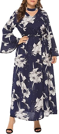 FeelinGirl Womens Maxi Dress Flower Print Keyhole Backline Large Size Dress Casual Skirt with Long Sleeves Mazarine 3XL