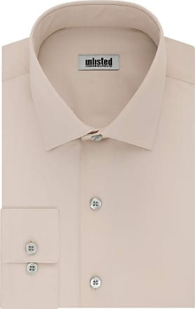 Unlisted by Kenneth Cole Mens Slim Fit Solid Spread Collar Dress Shirt, Almond, 15-15.5 Neck 32-33 Sleeve (Medium)