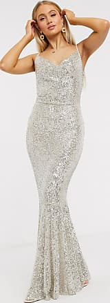 I Saw It First metallic cowl neck sequin dress in silver