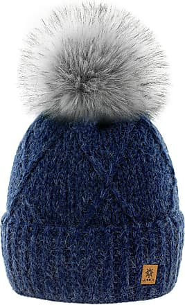 4sold Womens Ladies Beanie Hat Pom Pom Warm Winter Natural Wool Mohair Lining Full Cosy Fleece Liner (Birma Navy)