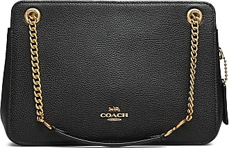 Coach Polished Pebble Leather Bryant Convertible Carryall 27 Bags Top Handle Bags Svart Coach