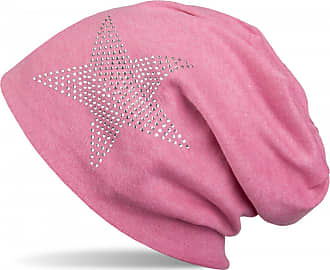 styleBREAKER Warm Beanie hat with Star Rhinestone Application, Unisex 04024023, Color:Mottled Coral