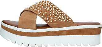 Inuovo Slippers with Crossover Band in Suede Leather Coconut Pearl Detail on the Bands Heel 5 cm MOD. 8203 Coconut Beige Size: 7 UK