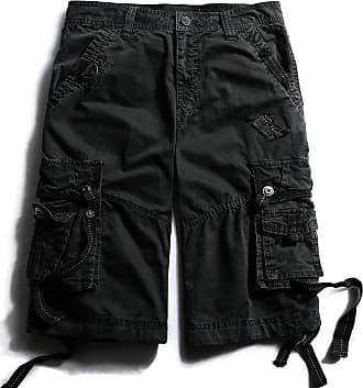 OCHENTA Mens Straight Leg Plain Shorts - Black - S
