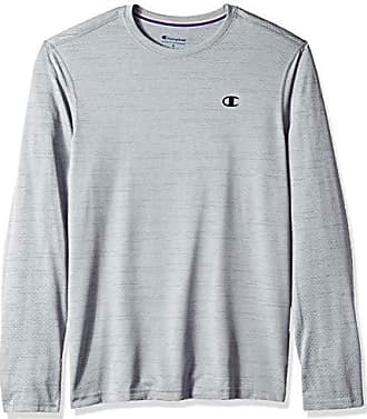 baf08910 Champion Mens Double Dry Mesh Heather Long Sleeve T-Shirt, Concrete Heather,  Medium