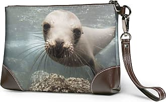 GLGFashion Womens Leather Wristlet Clutch Wallet Sea Lions Under Sea Storage Purse With Strap Zipper Pouch