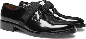 Givenchy Cruz Logo-jacquard Patent-leather Derby Shoes - Black