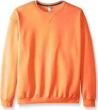 Fruit Of The Loom Mens Fleece Crew Sweatshirt, Orange Sherbet, XXX-Large