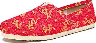 Tizorax Golden Dragon Red Floral Mens Slip on Loafers Casual Canvas Shoe Flat Boat Shoes