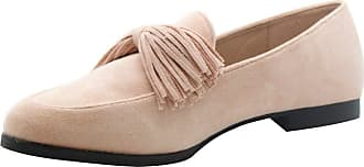 Saute Styles Womens Tassels Bow Loafers Ladies Fringe Flats Office Pumps School Shoes Size Pink Fringe Ballerina 7