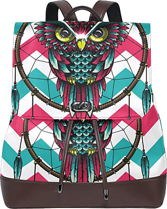Ahomy Women Leather Backpack Chevron Dreamcatcher Owl Waterproof Anti-theft Fashion School Backpack Casual Daypacks
