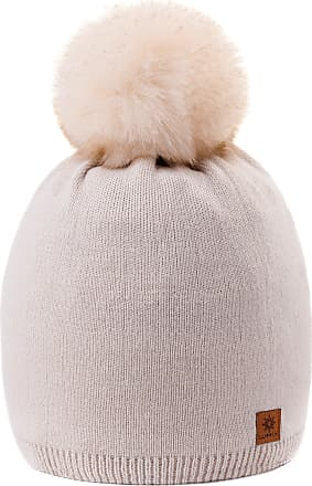 morefaz Women Ladies Winter Beanie Hat Knitted Big Pom Pom Plain Colour Fleece Lining MFAZ Morefaz Ltd (Ecru)