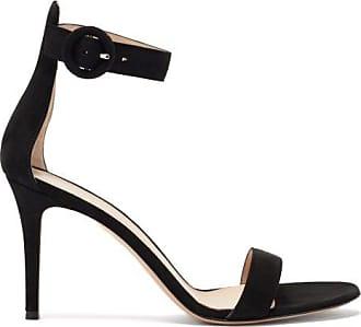 Gianvito Rossi Portofino 85 Suede Sandals - Womens - Black
