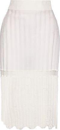 Stella McCartney Stella Mccartney Woman Elisha Pleated Cotton-blend And Embroidered Tulle Skirt Off-white Size 36