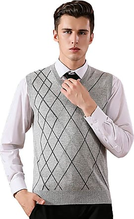 Vdual Mens Cashmere Wool Blend Relax Fit Plaid Gilets V Neck Sleeveless Jumper Knitwear Tank Tops Light Gray