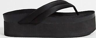 Monki Sophie - Sandali flatform infradito in poliestere riciclato nero