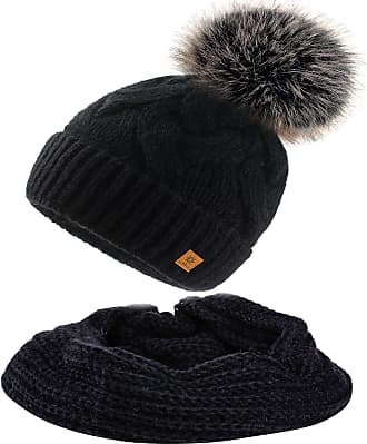 morefaz Set Scarf & Hat Mohair Wool Women Winter Beanie Hat Worm Neck Knitted Hats Fleece Pom Pom (Black Set Hat&Scarf)