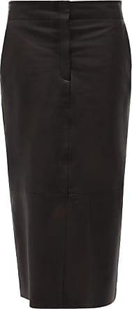 Raey Elasticated-back Leather Pencil Skirt - Womens - Black