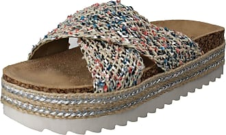 Spot On Ladies Chunky Sole Summer Mule - Silver/Pink Textile - UK Size 8 - EU Size 41 - US Size 10