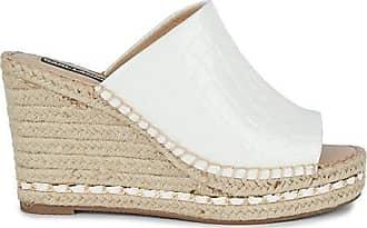 Karl Lagerfeld Carina Croc-Embossed Leather Platform Espadrille Wedges